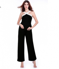 Jumpsuit in Womens Hot Black White Splicing Playsuits Wide Leg Halter Ladies Elegant Bodysuits black s