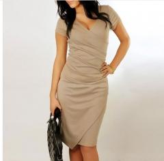 Summer Dress Women Fashion New Arrival Sexy Short Sleeve V Neck Sheath Knee Length Slim Causal Dress aprocit m
