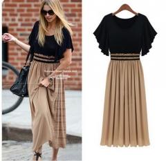 Spring Summer New Women Fashion Chiffon Pleated Dress black s