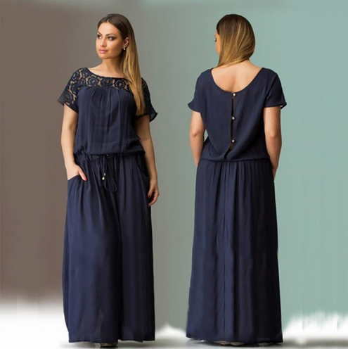 d607f7743f4 Short Sleeve Lace Summer Autumn Dress 2016 Women Big Plus Size Long dark  blue 6xl