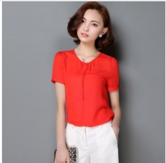 Casual Women Chiffon Blouse Ladies Solid Elegant Blouses Short Sleeve red s