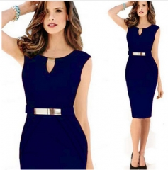 Women Fashion Bodycon Office O Neck Sleeveless Lady Sheath Pencil Dress blue m