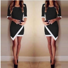 New Brand Elegant Causal Summer Dress White Black Patchwork Color Sexy Half Sleeve black m