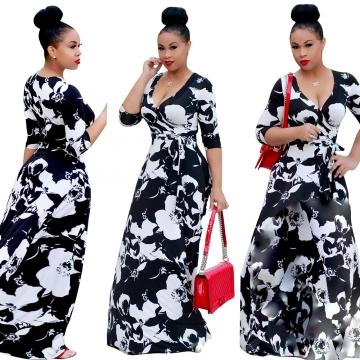 Women Sexy Midi-Sleeve V-neck Slim Nightclub Dresses Party Dresses Maxi Dresses-white black white black S