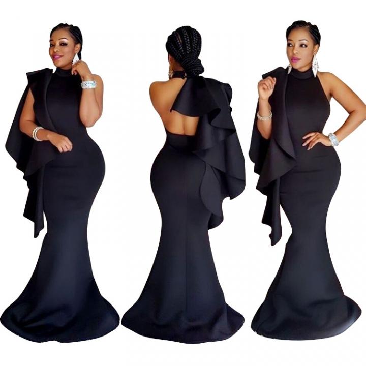 Wedding & Business Elegant Pack Hip Mermaid Dress Club Dresses Party Dresses Formal Maxi Dresses black S
