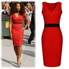 Dresses For Ladies Slim Women Meeting Grace Office Dress Party Bodycon Vestidos Patchwork Elegant red 8