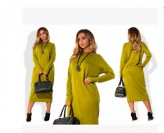 L - 6XL Large Size Women Dress 2017 Long Sleeved green 12