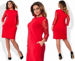 2017 Plus Size Lace And Elegant Dress Big Large Size Dresses SummerWomen Dress -wine red 12