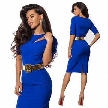 Nemidor Summer Women Patchwork Office Half Sleeve Bodycon Dress blue s
