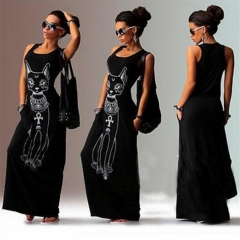 Cat Print Long Maxi Dress Women 2017 Summer Boho Beach Bodycon Dress Elegant Evening Party Dresses black s