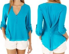Women Chiffon Blouses Sexy Long Sleeve V-Neck Shirts Female Plus Size Tops Blusas Femininas blue s