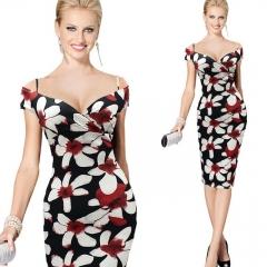 Sexy Ladies Evening Party Prom Gown Dress Low-cut A Line Dress Vestidos Elegant Midi Dresses picture color s