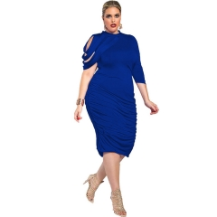 Fashion Women Summer Dress Sexy Gray Black Mid-Calf Pleated Party Dress Color Sexy Club Dress blue l