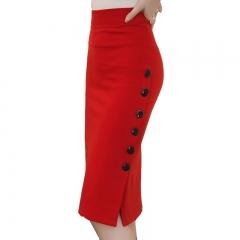 Office Women Skirt Midi Skirt Slim OL Sexy Open Slit Button Slim Pencil Skirt Elegant Ladies Skirts red s