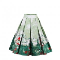Women Print Pleated Skirts faldas Mujer Ladies Fashion Flamingo Streetwear Mid-Calf Honeybee 01 s