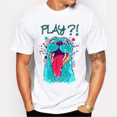 Funny Blue Dog Men's Print T-Shirts O-Neck Men's Clothing Basic T-Shirts Casual Cotton T-shirt white 10