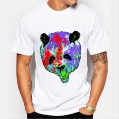 Color Panda Men's Funny Print T-Shirts  O-Neck Men's Clothing Basic T-Shirts Casual Cotton T-shirt white 8