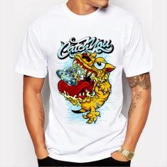 Yellow Monster Men's Funny Print T-Shirts O-Neck Men's Clothing Basic T-Shirts Casual Cotton T-shirt white 8