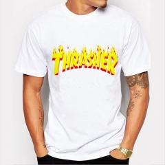 Thrasher Men's Funny Print T-Shirts O-Neck Men's Clothing Basic T-Shirts Casual Cotton T-shirt white 8