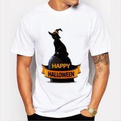 Happy Halloween Men's Funny Print T-Shirts -Neck Men's Clothing Basic T-Shirts Casual Cotton T-shirt white 8