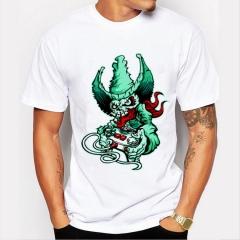 Green Monster Men's Funny Print T-Shirts  O-Neck Men's Clothing Basic T-Shirts Casual Cotton T-shirt white 8