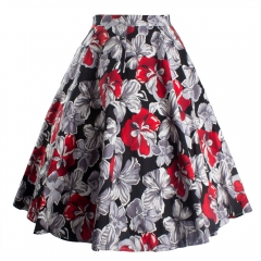 Summer dress Women Sexy Vintage Floral Print Skirt Flared Skirt red 8