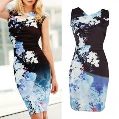 Summer Women V-neck Slim Elegant Dress Print Pencil Dress Package Hip Dress blue 8