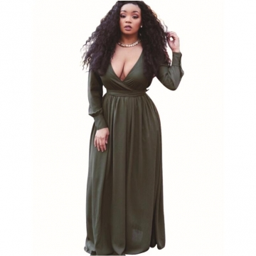 Dress For Ladies Pure Color V-neck Sexy Vacation Beach Maxi Dresses green S