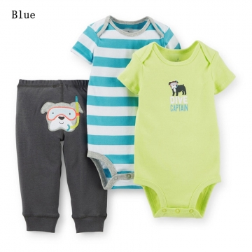 Newborn Baby Romper Carters Cotton Infant Jumpsuit 2PCS Baby Boys Girls Clothing Romper+Pants blue 6-9m