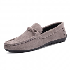 Men's Flats Suede Leather Shoes casualShoes Men Flats Moccasins Loafers Men slip- on Flats WF-621 grey 42