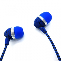3.5mm In-ear Braided Wire Subwoofer Headset Crack for MP3/MP4/Xiaomi/Samsung Blue