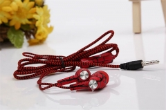 Crack-style Earphone Stereo Music Wire Headsets with Micro for iPhone/HTC/Xiaomi/Meizu/Sony Red