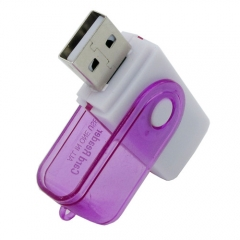 Multi-Function USB Card Reader Rotatable Memory Card Reader 4 in 1 SD TF MS M2 Memory Card Puple