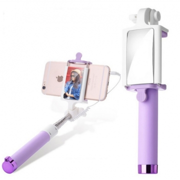Selfie Stick with Rearview Mirror Wired Remote Shutter Monopod Selfie Stick Puple