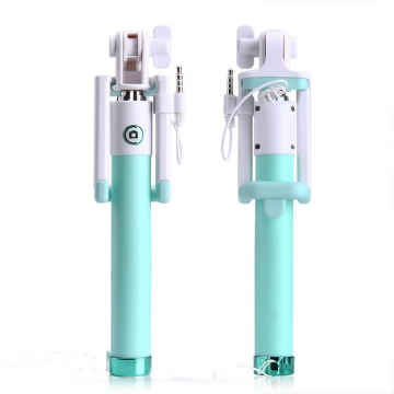 Extendable Selfie Stick Monopod Tripod for iphone Samsung Android Wired Selfies Self-Pole Artifact Green