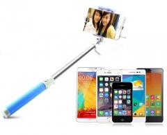 Mobile Phone Self Timer Antiskid Groove Design Handheld Bluetooth Monopod Portable Selfie Stick Blue