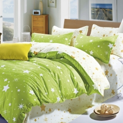 New Home 100% Polyester 4PCS Bedding set Green Duvet cover Pillow Quilt  size 6*6 Green 4*6