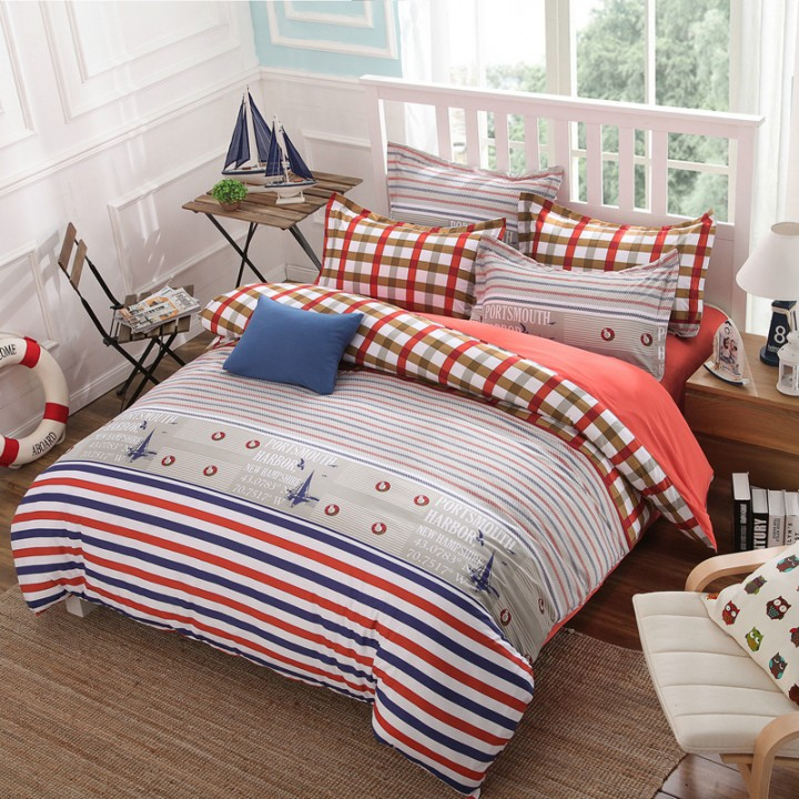 Summer Bedding Set 4pcs Duvet Cover Sheet Bed Linen Bedclothes Pillowcase Sailing 4*6