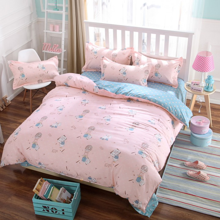 New Home 100% Polyester 4PCS Bedding set Duvet cover Pillow Quilt King Size Girl's pink Pink 4*6