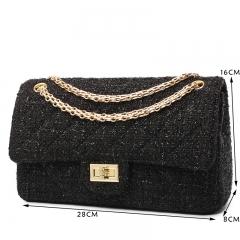 Handbag Shoulder Messenger Bag Fashion Women Luxury Bag Woollen Cloth Black/Gold Chain 28cm