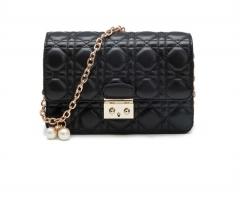 New Women Bag messenger Pearl Chain Black style Fashion Bag Black 20cm