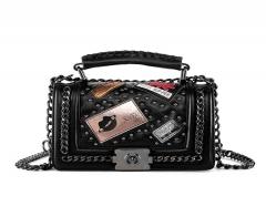 Handbag Women's Bag Fashion Shoulder High Quality PU Material Black Black 22cm