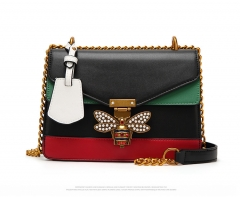 Women's Bag Fashion Shoulder Bag Bees High Quality PU Material Black 23cm