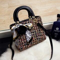 Women's Bag Fashion Shoulder Bag High Quality Woollen Cloth Material Black 23cm