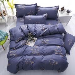 100%Polyester 4pcs Duvet Cover Sheet Bed Linen Bedclothes Pillowcase Gentleman Blue ocean 5*6
