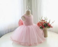 New Kids Fashion Princess Flower Girl Dress pink 90