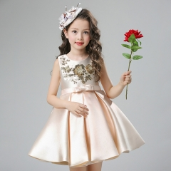 Kids Girl Clothes Student Princess Dress For Wedding Party champagne 90