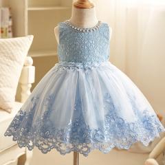 Spring Summer Kids Lace Princess Dress For Wedding Party Dance Wear bule 90