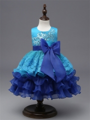 New Kids Princess Girl Dress Party Gown For Wedding bule 90