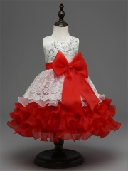 New Princess Clothes Flower Girl Dress red sash 100
